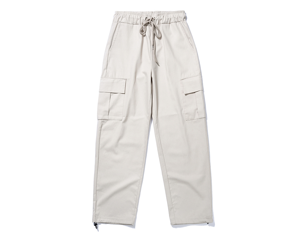 FANACULT STRING CARGO PANTS-BEIGE