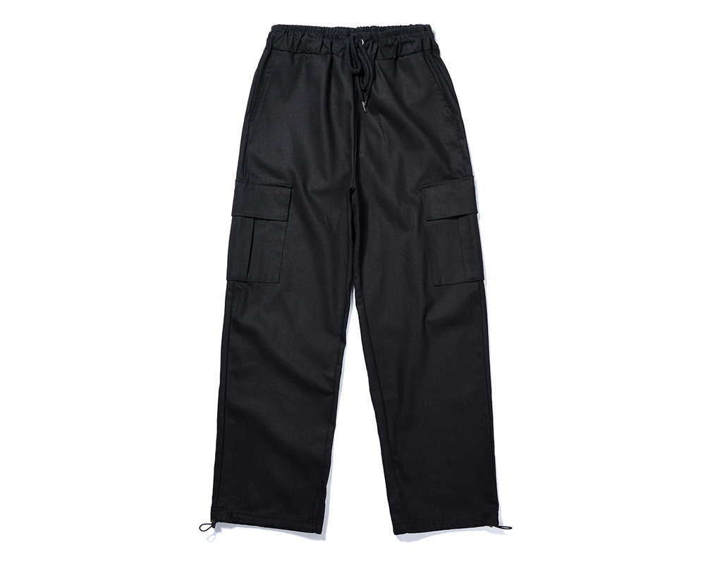 FANACULT STRING CARGO PANTS-BLACK